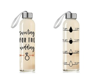 FREE SHIPPING Sweating for the wedding, Personalized wedding bottle, bride gift, engagement gift, bridal shower present, bride-to-be gift