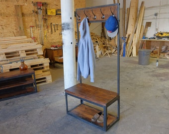 """Gallagher Entryway Preacher Bench w/Clothing Rack and 2"""" Wood Slab Seat"""