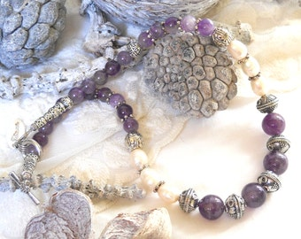 bohemian amethyst necklace purple necklace bohemian necklace amethyst jewelry purple necklace stone jewelry fresh water pearl