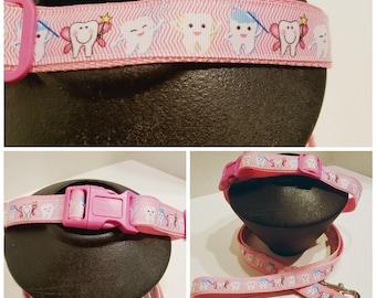 Pink Dental Dog Collar - Dog Collar - Tooth Dog Collar - Gift for a Dentist - Dog Lover Gift