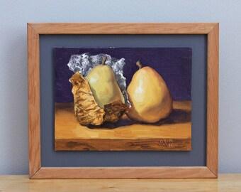 Holiday Pears Original Framed Oil Painting Still Life Kitchen Art by Aleksey Vaynshteyn