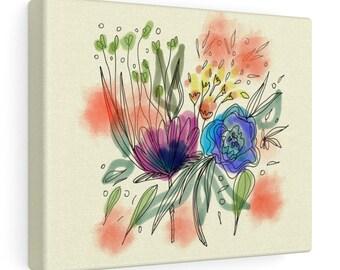 Watercolor Bouquet Print On Canvas