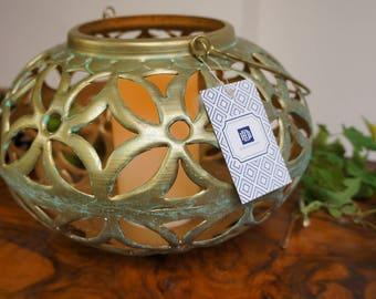Hara  Lantern Brass, Green - Candle Holder - Tea light holder - Vintage