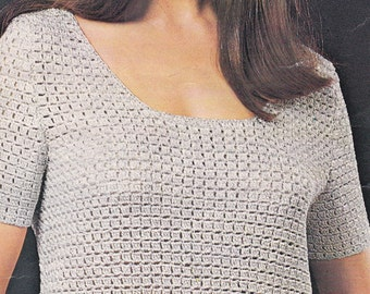 Vintage crochet pattern scoop neck top pdf INSTANT download pattern only pdf