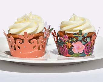 Bright Floral Cupcake Wrappers, Set of 12