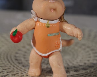 "Vintage Cabbage patch kids Koosas 80's PVC poseable figure 3"" boy holding apple Mini Figure Original Retro collectible 1985"