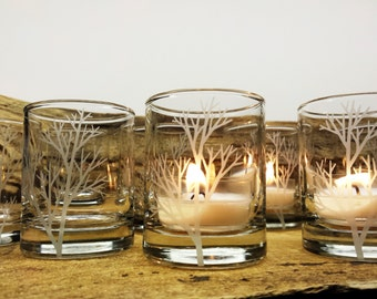 Tree Branch Party Favor Candles 50 pcs Engraved Glass Country Weddings Outdoor Entertaining Engraved Glass Votive Holders