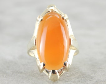 Elongated Oval Carnelian Ring with Vintage Gold Mounting CPZXMH-D