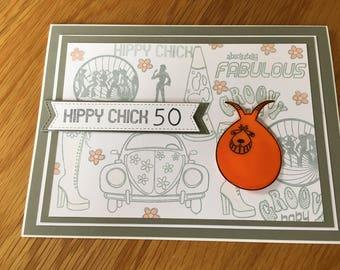 50th Birthday Hippy Chick Card