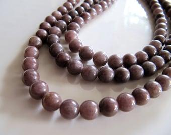 10mm AVENTURINE Beads in Dusty Purple, 1 Strand, Approx 38 Beads, Round Smooth Gemstone Beads