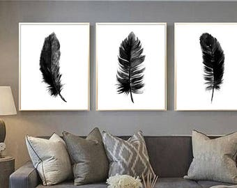 feather art print feather black feather set of 3 feather watercolor painting feather print feather poster black feather feather minimalist