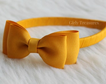 Mustard Bow Headband. Girls Bow Headband. Bow on Plastic Headband. School Headband. Preppy Headband. Bow Headband. Toddler Headband.