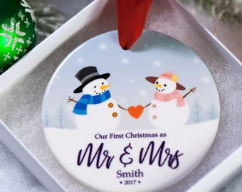 Ornament First Christmas Married 2018 Personalized - Gifts for Newlyweds - Newlywed Custom Ornaments - 1st Christmas Married Ornaments