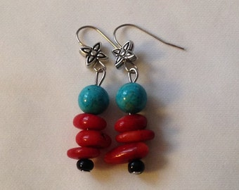 Free Shipping, Red Koral & Turquoise bead