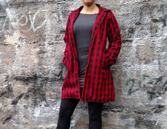 Wool Coat Print Winter Thick Coat Wool Jacket Size Fitted Tartan Jacket and Womens Boho Red Wool Paisley Black Fall Wool HwxndAtU