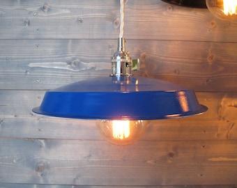 Blue Vinyl Record Pendant Light - Reused Plastic Industrial Ceiling Lamp