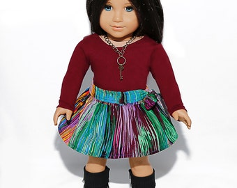 18 inch doll clothes made to fit like american girl doll clothes, burgundy top and Indian silk circle skirt
