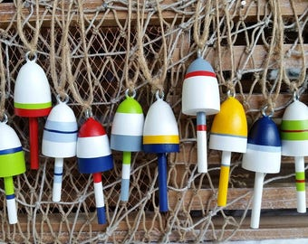 """Miniature Maine Lobster Buoys, Christmas Ornaments, Wedding Favors, set of twelve, mixed colors, 3"""" tall"""