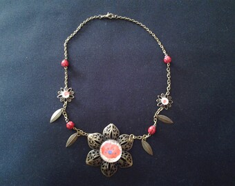 Necklace print cocquelicot flower and ladybugs