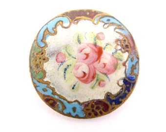 Large Antique Enamel Floral Button