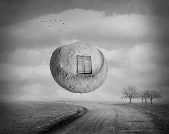 Flying Stone, Digital Download, Surreal Art, Surreal Photography, Black and White Photography