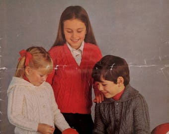 Original Sirdar Knitting Pattern Children's Aran Cardigans 1970s