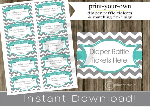 baby shower diaper raffle tickets with matching sign teal and