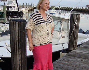 Crochet Sweater, Cardigan, Alpaca Sweater, Nautical Sweater, White and Navy Blue Striped Sweater, Short Sleeve Sweater, Available in  M/L