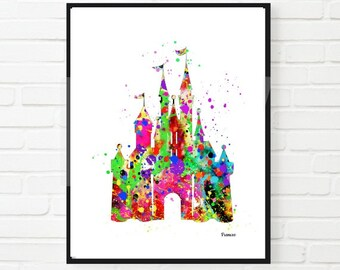 Cinderella Disney inspired Princess Castle Disney Castle Watercolor Print Digital Download Princess Room Children Wall Art Nursery Art