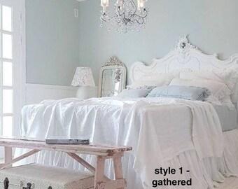 Linen Bed Skirt - Linen Bedding - Linen Dust Ruffle - Ruffled Bedskirt - Custom  - Dust Ruffle - California King - Ruffle Bedding