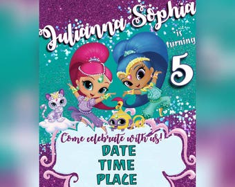 Shimmer and Shine Birthday Party Invitation