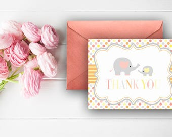 Elephant Thank You Cards, Baby Shower Thank You Note, Gender Neutral Elephants, Digital Download, Printable Cards, 808