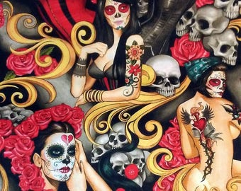 Skulls & Sugar Skulls, Tattooed Ladies Print Alexander Henry 100% Cotton Fabric for Quilting, Sewing, Crafting and Designing