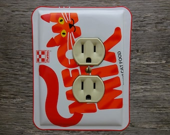 Cats Decor Cat Lover Outlet Cover Covers Horizontal Outlets Sideways Switches Made From A Purina Meow Mix Kitty Food Tin OLC-1093