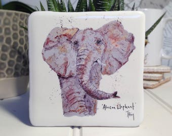 Coaster, Elephant, Africa, Animal Coaster, Ceramic, Tile coaster, Kitchenware, hand made, Decor, Interior Kitchen, Animals, African themed