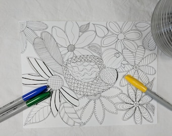 Bird and Flowers Digital ZIA Zentangle Coloring Page