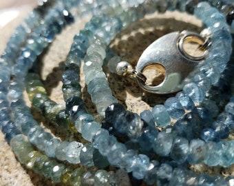 Faceted Moss Aquamarine Necklace or Wrap Bracelet