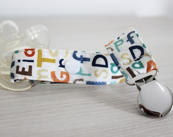 Pacifier holder, pacifier clip, Letter fabric, Soothie pacifier clip, Dummy clip, Baby pacifier clip, Binky Clips, Baby pacifier, Paci Clip