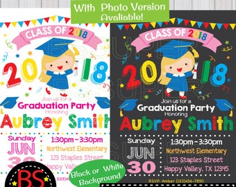 Graduation Party Invitation, Kindergarten Graduation invite, Preschool  Graduation Announcement, Pre K , Elementary, High School