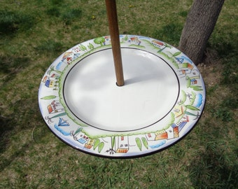 Rustic Bungalow Bordered Plate Bird, Squirrel or Fairy Feeder