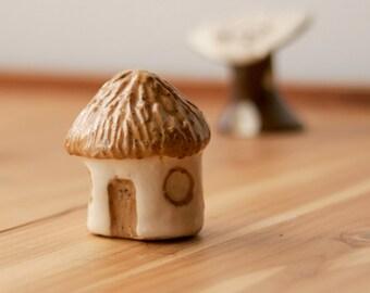 Miniature Thatched Cottage, Fantasy Decor, Terrarium, Fairy Garden, Forest Hut, Sugar Cookie Tan