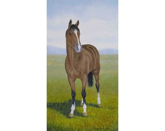 Horse original oil painting by Elena Parashko, realistic equine art of a horse in a field, stallion, mare, thoroughbred