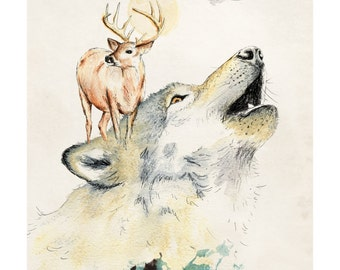 Wolf Island | A5 prints | Alykat Creative animal series | Stag deer
