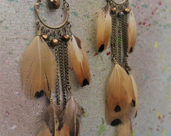 Light Brown natural Pheasant feather earrings