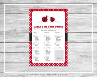 Ladybug Baby Shower What's In Your Purse Game - Printable Baby Shower What's In Your Purse Game - Ladybug Baby Shower - Purse Game - SP140