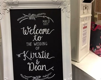 Personalised handwritten wedding welcome chalkboard sign