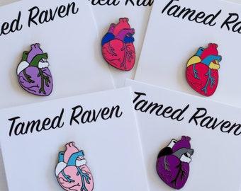 Seconds Sale Gay Pride Pin Rainbow Anatomical Heart Enamel Pin LGBTQ Gay Pride Rainbow Pride Hard Enamel Gay enamel pin