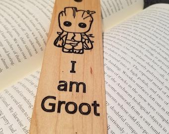I am Groot Wooden Bookmark - Baby Groot