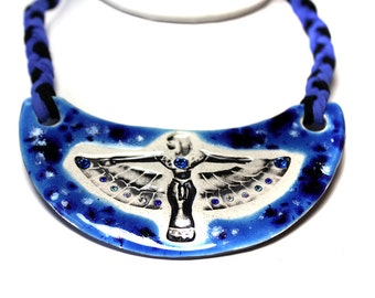 Egyptian Sparkle Surly Ceramic Necklace in Blue Adjustable Length