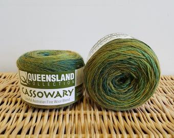 Wool Blend Sock Yarn, Gradient Sock Yarn, Cassowary by Queensland Collection, Avocado 08